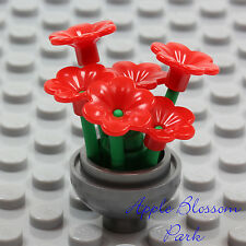 NEW Lego Friends Minifig SILVER FLOWER POT w/Red Pansy Flowers Green Plant Stems