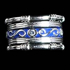 "5-RING SET_#03_CZ_BLUE ENAMEL ""S"" SWIRL_ETERNITY BANDS_SZ-7__925 STERLING SILVER"