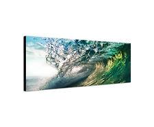 120x40cm Welle Panorama Surfer Sonnenuntergang Meer Wasser Leinwand Bild Sinus