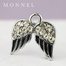 M72 Cute Crystal Black Angel Wing Charm Pendant Wholesale (10 pcs)