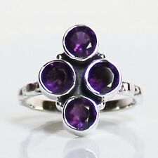 925 Solid Sterling Silver Faceted Semi-Precious Purple Amethyst Ring - Size 9