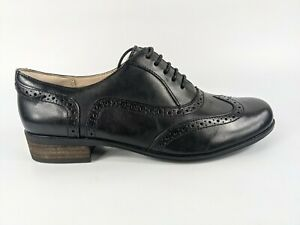 Clarks Hamble Oak Black Leather Brogue Shoes Uk 5.5 D New