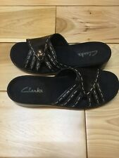 CLARKS Women's Black Leather SLIP-ON SANDALS/SHOES  size 9