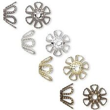 Lot of 100 Flower Spacer Bead End Caps Plated Brass Metal for 7mm-9mm Beads