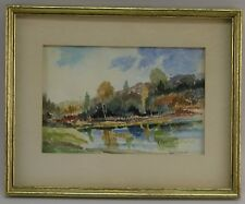 VNTG ROBERT FRICK (1920-1997) LISTED VERMONT WATERCOLOR LANDSCAPE PAINTNG SIGNED