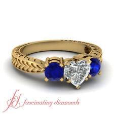 1.20 Ct Heart Shaped Antique Style 3 Stone Diamond & Sapphire Engagement Rings