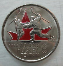 2009 CANADA 25¢ OLYMPIC WOMEN'S HOCKEY COLOURED BRILLIANT UNCIRCULATED QUARTER