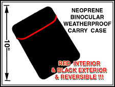 "BINOCULAR CASE 10"" Diagonal Waterproof Neoprene Rubber Red/Black Reversible NEW"