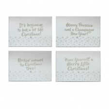 Gold Glitter Mirror Christmas Dining Table Place Mats - 4 Slogan placemats