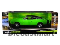 Maisto 1:18 Classic Muscle 1969 Dodge Charger R/T Green Diecast Model 32612GRN