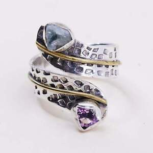Size 9, Two Tone brass trim w/ sterling 925 silver wrap ring topaz amethyst