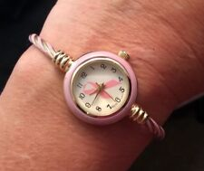Kristine Pink Ribbon Breast Cancer Cable Band Women's Small Size Bangle Watch
