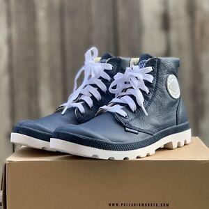 Palladium Blanc Hi Leather Retro Black & White Boots Brand New Size US 11 1/2