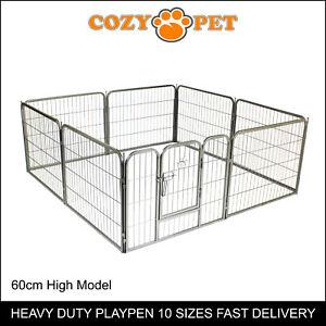 Heavy Duty Cozy Pet Puppy Playpen 60cm High 8 Panel Run Crate Pen Dog Cage
