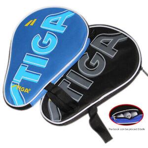 Full Cover STIGA Table Tennis Paddles Case Ping Pong Bats & 3 Balls Hold Pocket