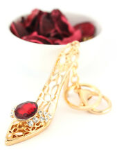 Heels Stiletto Shoes Red Stone Keychain Crystal Charm Cute Gift Accessory 01146