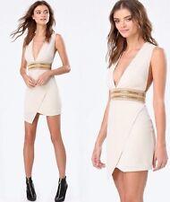 NWT bebe nude ivory embellished Jewel Waist asym Plunge deep v top dress XXS