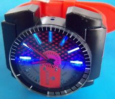 ICE KING 7345 LID LIGHTS   XX X Large Wrist Watch 55mm RED Rubber Band Stainless