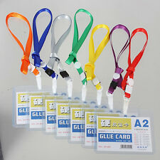 2X Durable Vogue A2 Custom Lanyard ID Badge Card Holder Ring Pocket Neck Strap