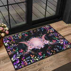 """Vintage Floral Triple Moon Wiccan Welcome Doormat Gothic Witch Rug Gift 18x30"""""""