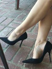 *BLacK LaCe EUC Sz 9.5 Pointy Toe CARRIE Stilettos High Heels PUMP GuESS Spike