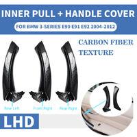 LHD Carbon Fiber Inner Door Pull Handle Panel Trim Cover For BMW 3 E90 E91 E92