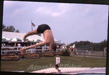 1963 Photo slide Milton Bradley picnic  Grandy CT MB1 swimmers #5 mid air diver