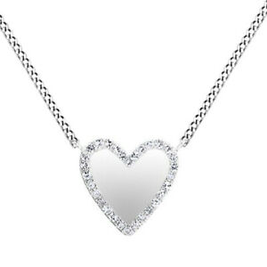 1/10 Ct Round Cut Simulated Solid 14K White Gold Trimmed Heart Pendant Necklace