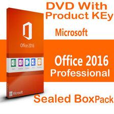 MICROSOFT Office Professional 2016 ORIGINALI Pack BOX SIGILLATO CON DVD & CHIAVE
