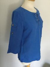 Ralph Lauren Ladies Blue Linen 3/4 Sleeve Top Size XS/TP. Good Condition.