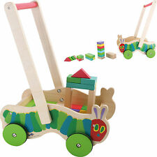 Raupe Nimmersatt Lauflernwagen Holz Bausteine Bauklötze Kinder Baby Laufhilfe