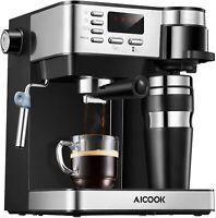 Aicook Cafetera Expresso 3 en 1 Cafetera de 15 Bares Acero Inoxidable LCD 1,2 l
