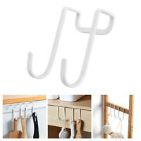 2x Dual Hook Hooks,Cabinet Cupboard Drawer Bathroom Kitchen Metal Bag/Hat Hanger