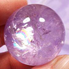 Beautiful rainbows Amethyst crystal polished 30mm sphere 51g SN20918