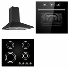 Cookology Black Electric Fan Forced Oven, Gas-on-Glass Hob & Cooker Hood Pack