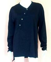 YOHJI YAMAMMOTO POUR HOMME ASYMMETRIC BUTTON LONG SLEEVE T-SHIRT BLACK SIZE M