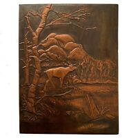 1968 Elk Wilderness Vtg Copper Relief Repousse Dated & Signed Th. Thorkildsen