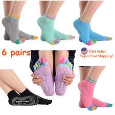 5-Toe Colorful Grip Massage Socks for Yoga Pilates Barre Non Slip Socks-6 Pairs