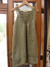 Lagenlook Style 100% Linen Dress Tunic Top  Made in Italy Size Large Olive Green