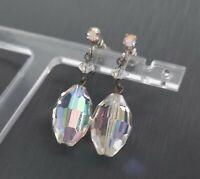 LOVELY VINTAGE 50S 60S AURORA BOREALIS GLASS SCREW BACK CLIP ON EARRINGS