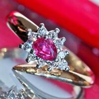14k yellow gold ring 0.65ct tourmaline diamond size 6.5 vintage handmade 3.6gr