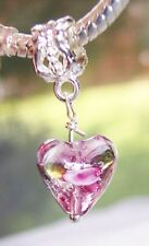 Lavender Pink Clear Purple Glass Heart Dangle Bead fits European Charm Bracelets