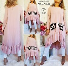 NEU 38 40 42 44 Long Pullover NEW YORK Sweatshirt Kleid * Rosa M-L-XL-XXL Italy