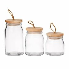 NEW Pantry Round Glass Storage Canister w/ Wooden Lid Set of 3