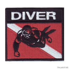 SCUBA DIVER BADGE FLAG EMBROIDERED SEW ON PATCH