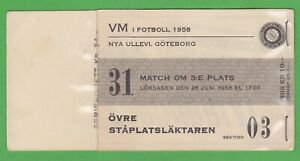 1958 FIFA World Cup ticket #31 Bronze game France vs West Germany June 28th