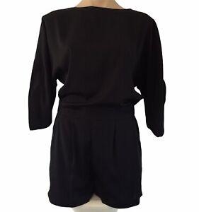 WITCHERY Black Playsuit Size 8 Short Jumpsuit Pockets Cold Shoulder Sleeve