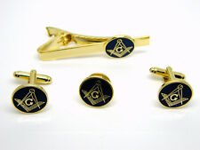 MASONIC G BADGE SQUARE AND COMPASS CUFFLINKS TIE CLIP LAPEL PIN GIFT SET IN BOX