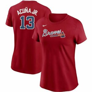 NWT Nike Women's Atlanta Braves Ronald Acuna Jr Red T-Shirt SZ Small MSRP $35