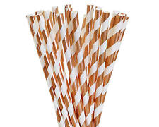 100 paper straw/Stripes Rose Gold Foil Paper Straw/party decor/Wedding/Christmas